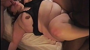 BBW Threesome - Fucked by Two Guys